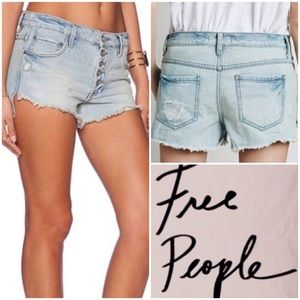 Free People Distressed Button Light Wash Shorts